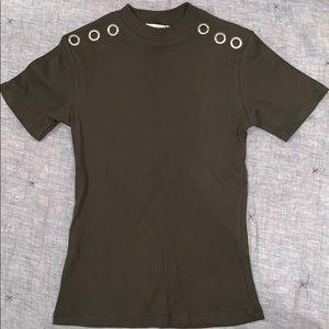 Army Green Zara Top w/ Grommets *NWT*
